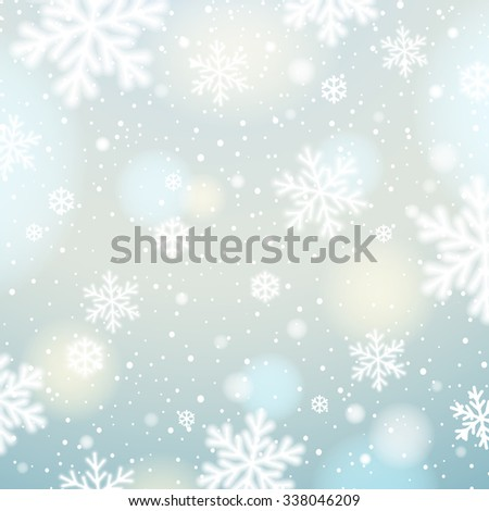 Light background with bokeh and blurred snowflakes, vector illustration - stock vector