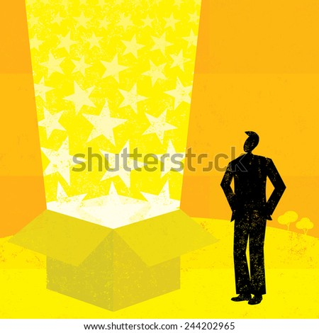 Light beam box A businessman looking into a magic box with light beams and stars coming out of it. The man & box and background are on separate labeled layers. - stock vector