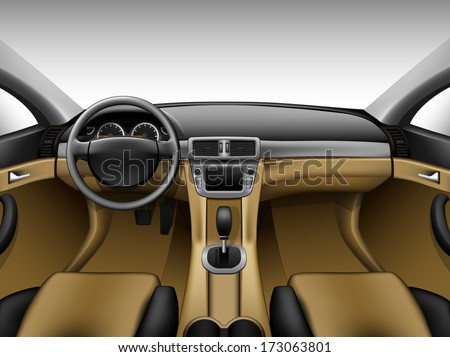 Light beige leather car interior - stock vector