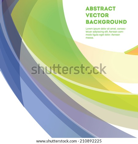 Light blue and green curve line vector background. Editable eps 10 illustration.  - stock vector