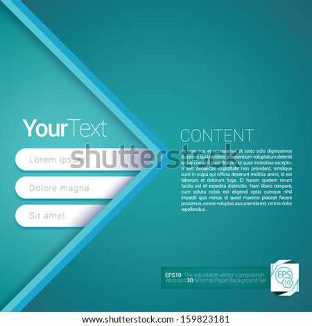 Light blue, arrow shape edition of a simple abstract scalable flat gui design for placing objects, images, icons, photos, and content. For print,  web & desktop  application background - stock vector