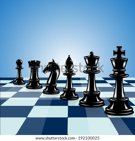 Light blue background with chess - stock vector