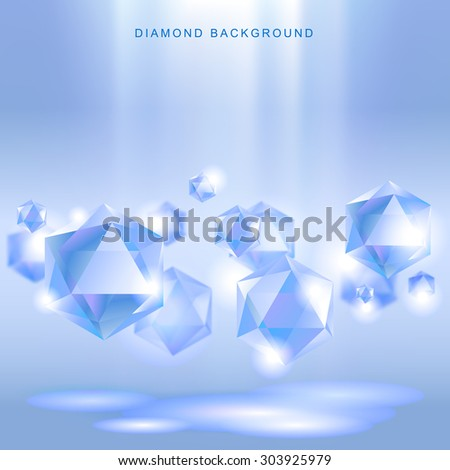 Light blue background with diamonds hanging in the air. Vector illustration - stock vector