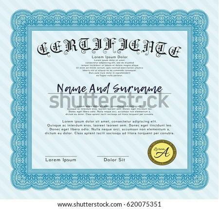 Certificate Achievement Template Vector Applied Thai Stock Vector