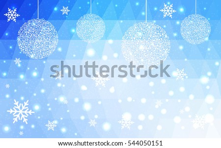 Light BLUE christmas postcard low polygon background. Vector illustration consisting of triangles. Abstract triangular polygonal origami or crystal design of New Year celebration.
