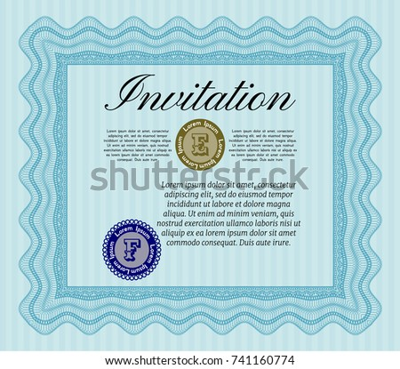 Light blue formal invitation vector illustration stock vector light blue formal invitation vector illustration with great quality guilloche pattern elegant design stopboris Gallery