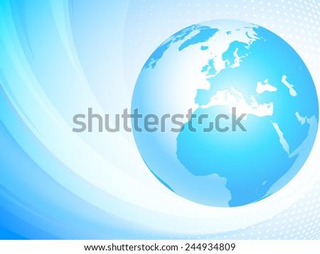 Light blue globe. Europe. - stock vector