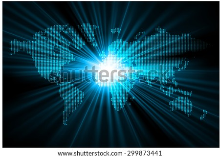 light blue map of the world pixel background. vector illustration. dot. table. square. Mosaic. ingographics. background for computer graphic website internet and technology. dark gray background. - stock vector