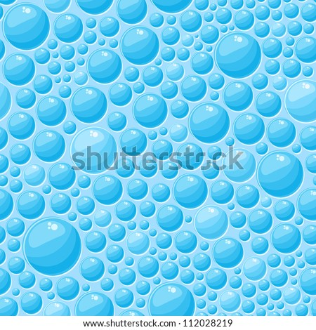Light Blue Round Bubbles in Seamless Vector Pattern - stock vector