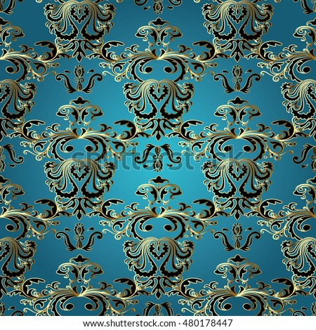 Light Blue Royal Baroque Damask Vector Seamless Pattern Background Wallpaper Illustration With Decorative Vintage Black Gold