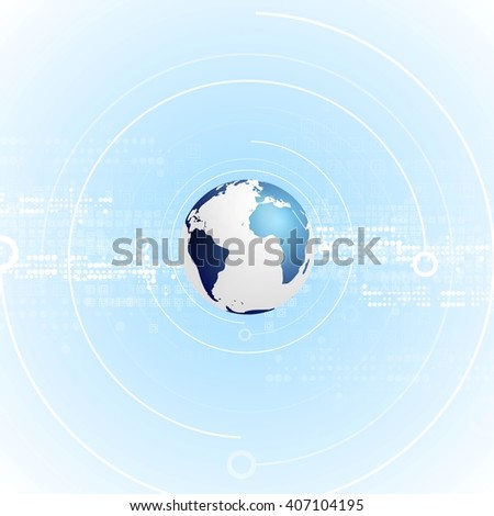 Light blue tech abstract background with globe. Vector technology graphic design