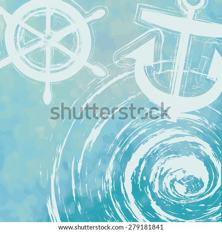 light blue tone with retro vintage style and isolate ship anchor in summer card. - stock vector