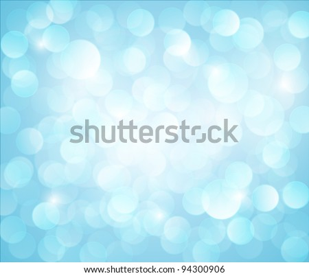 light blue Vector bokeh background made from white lights - stock vector