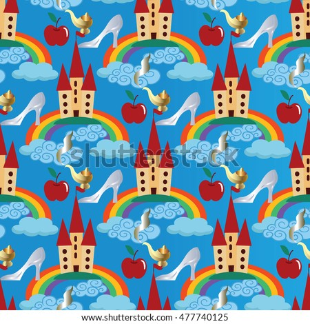 Light Blue Vector Seamless Pattern Background Wallpaper Illustration With Fairytale Castle Colorful Rainbow