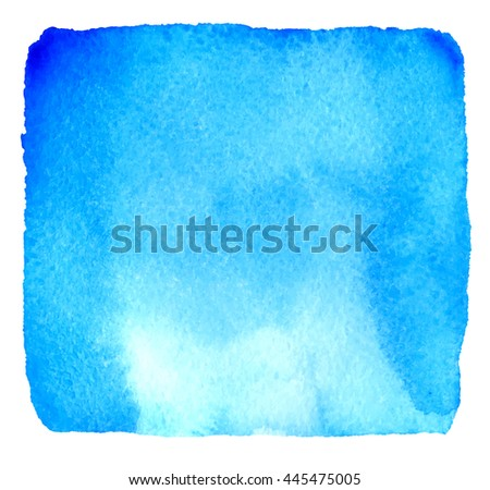 Light blue watercolor hand drawn banner. Vector watercolour paper grain textured background. Abstract hand paint square stain isolated on white background