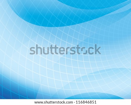 light blue wavy background with grid - vector - stock vector