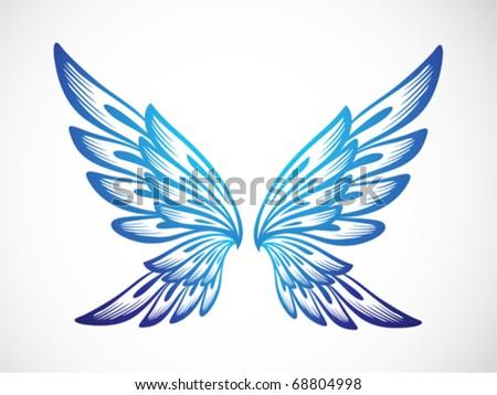 light blue wing ornament - stock vector