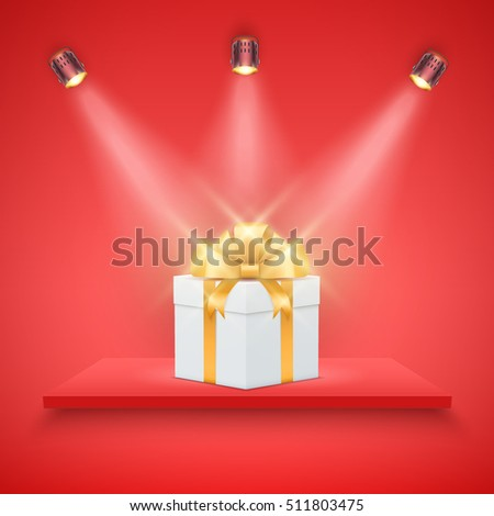 Light box with red platform on red backdrop with spotlights and gift box. Editable Background Vector illustration.