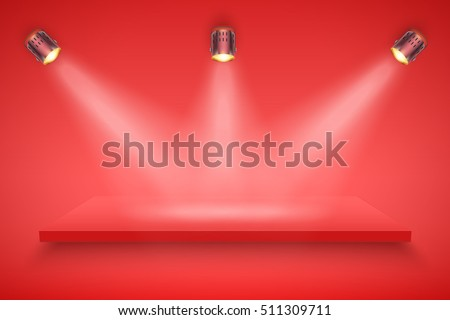 Light box with red platform on red backdrop with spotlights. Editable Background Vector illustration.