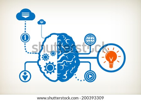 Light bulb and abstract human brain, the concept of the information movement - stock vector
