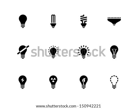 Light bulb and CFL lamp icons on white background. Vector illustration. - stock vector