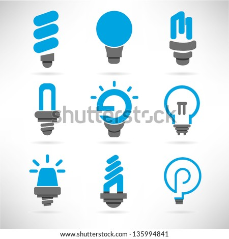 light bulb and idea icon set, vector - stock vector