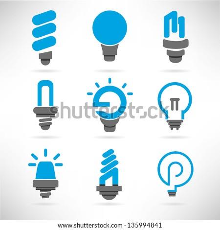 light bulb and idea icon set, vector - stock vector