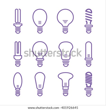 Light bulb and lamp icons on white background. Thin modern line vector illustration isolated on white background