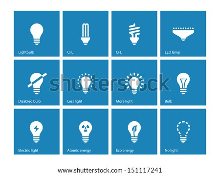 Light bulb and LED lamp icons on blue background. Vector illustration.
