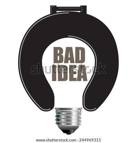 Light Bulb Bad Idea Concept with Toilet Seat for Print or Web - stock vector
