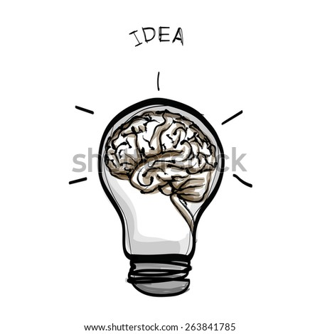light bulb brain idea hand drawn vector on white background - stock vector