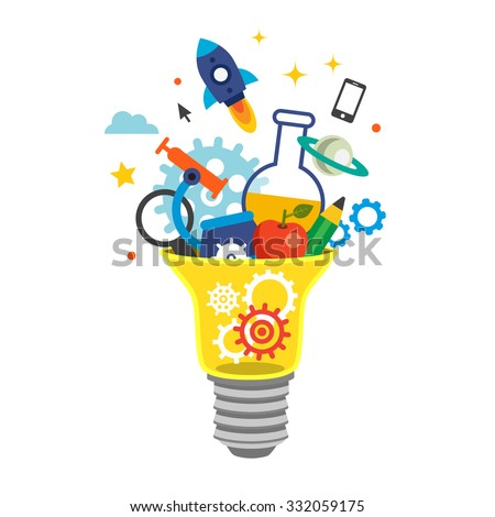Light bulb bursting with cogs and ideas. Education concept. Flat style vector illustration isolated on white background. - stock vector