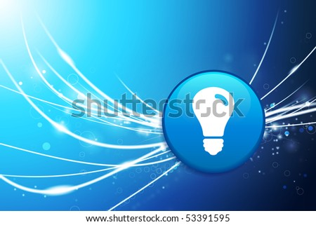 Light Bulb Button on Blue Abstract Light Background Original Illustration - stock vector