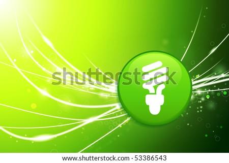 Light Bulb Button on Green Abstract Light Background Original Illustration - stock vector