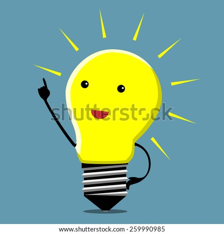 Light bulb character in moment of insight, EPS 10 vector illustration - stock vector