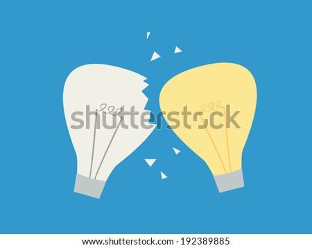 light bulb clash : idea clashing concept - stock vector