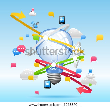 Light bulb ,Cloud computing,communication Concept - stock vector
