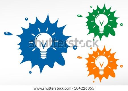 Light bulb - color blob - stock vector
