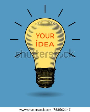 Light bulb color engraving drawing illustration with space for text isolated on blue background