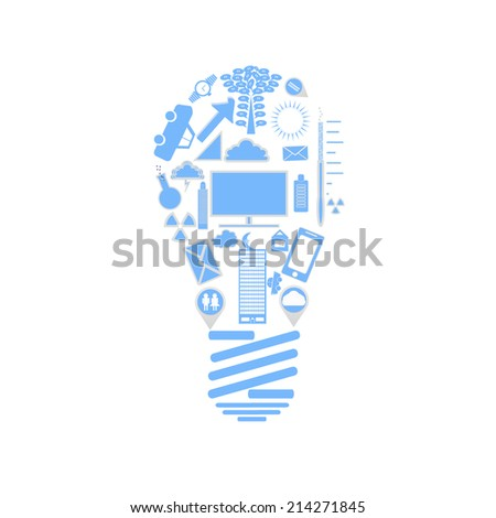 Light Bulb  Concept design symbols series illustration by vector.  - stock vector