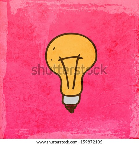 Light bulb. Cute Hand Drawn Vector illustration, Vintage Paper Texture Background - stock vector