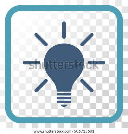 vector square blue icon lighting bulb. light bulb cyan and blue vector icon image style is a flat pictogram symbol in square lighting q