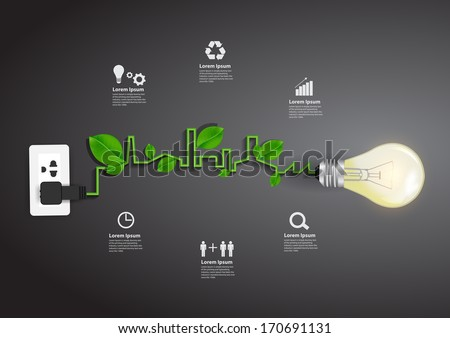 Light bulb eco concept idea, Vector illustration modern template design - stock vector