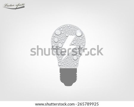 light bulb from transparent water drop vector - stock vector