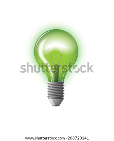 light bulb green vector illustration with gloss