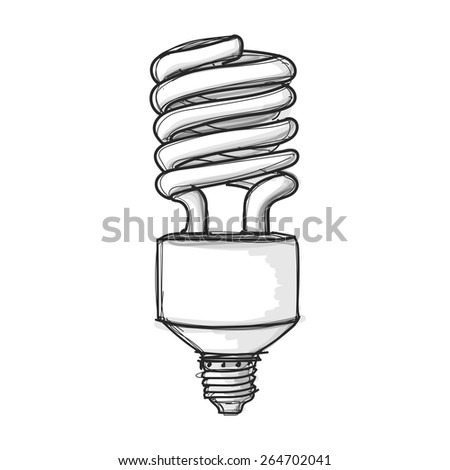 light bulb hand drawn sketch on white backgroud vector