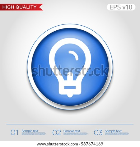 vector square blue icon lighting bulb. light bulb icon button with modern ui vector square blue lighting