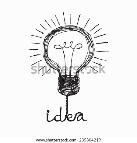 Light bulb icon Doodle hand drawn Illustration  - stock vector