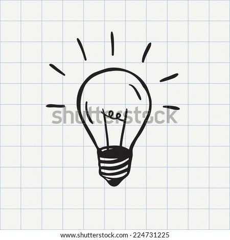 Light bulb icon (idea symbol) sketch in vector. Hand-drawn doodle sign - stock vector