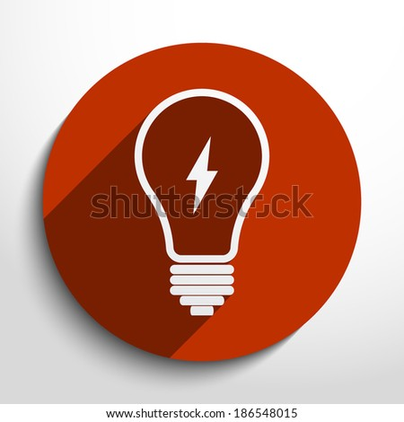 Light bulb icon in circle, flat design - stock vector